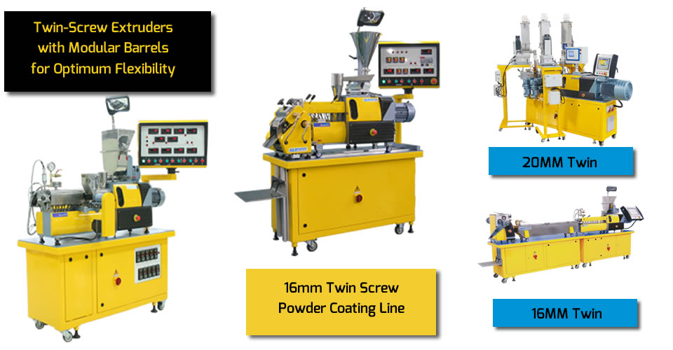 Twin screw extruders ranging in size from16 to 20 mm with modular barresl